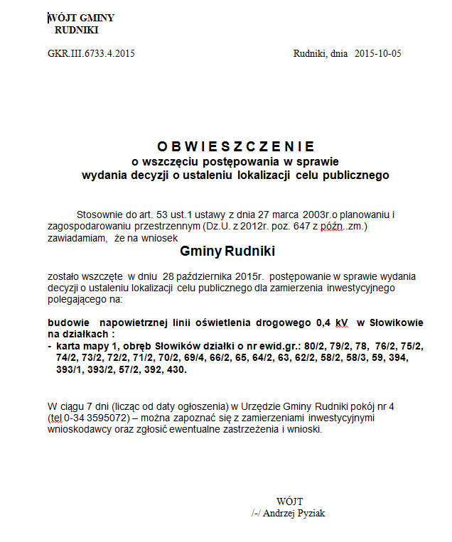 Obwieszczenie - budowa napowietrznej linii - Słowików.png