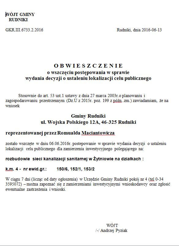 Obwieszczenie o wszczęciu postępowania - kanalizacja sanitarna w Żytniowie.png