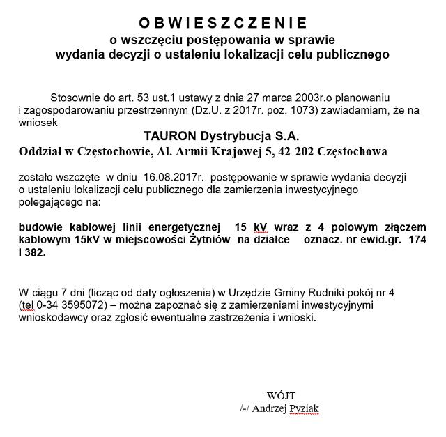 Obwieszczenie o wszczęściu postępowania - linia energetyczna Żytniów1.png