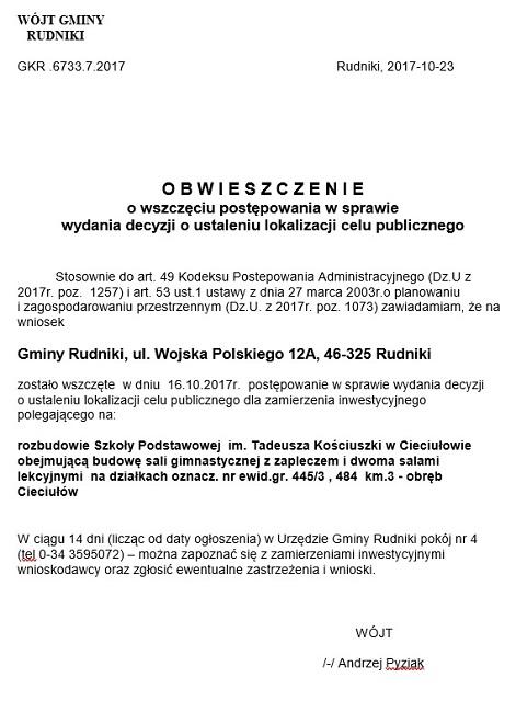 Obwieszczenie - lokalizacja celu publicznego - rozbudowa SP Cieciułów..jpeg