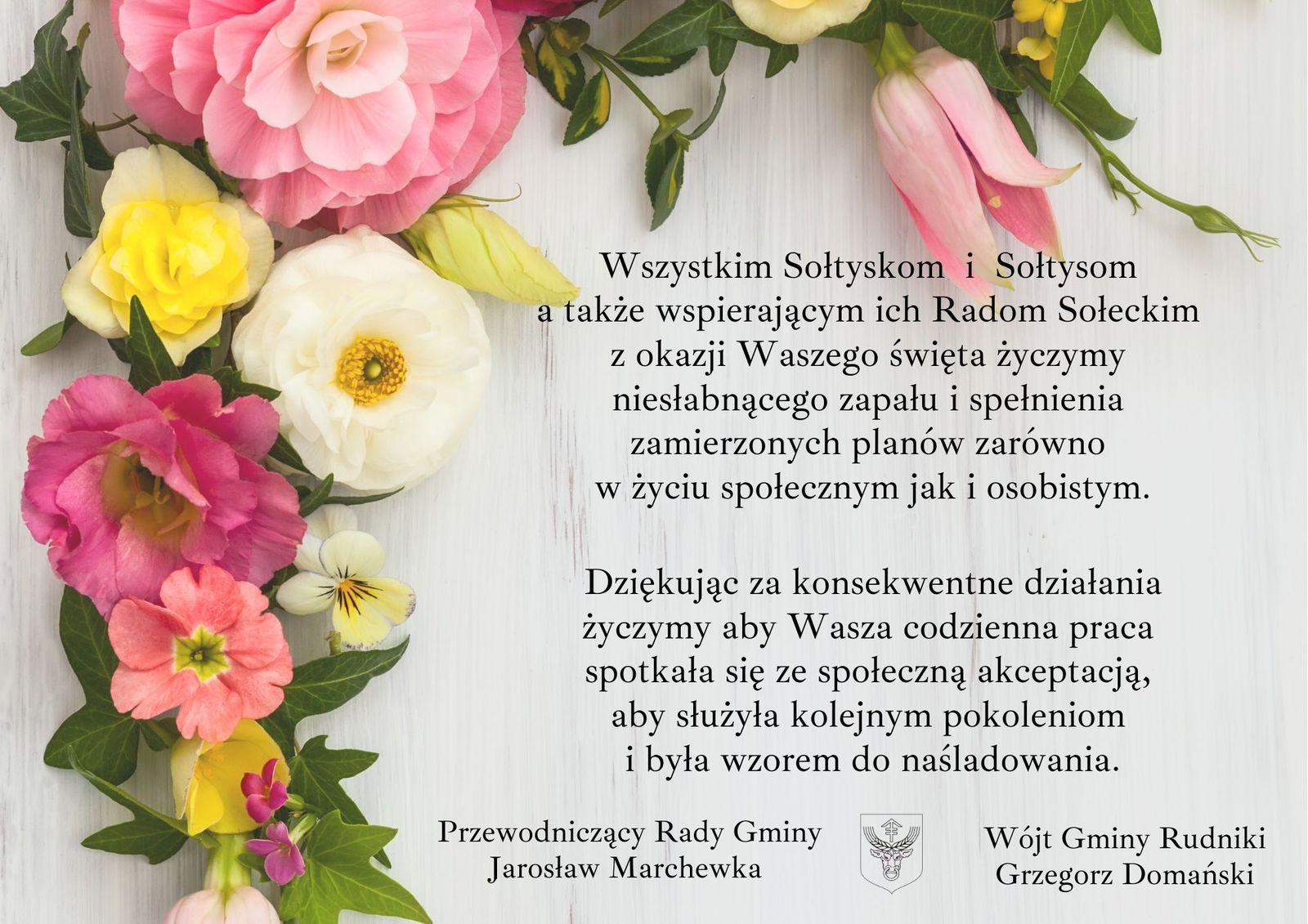 Wszystkim Sołtyskom i Sołtysom a także wspierającym ich Radom Sołeckim z okazji Waszego święta życzymy niesłabnącego zapału i spełnienia zamierzonych planów zarówno w życiu społecznym jak i osobistym. Dzięku.jpeg