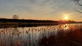 Zachód słońca nad zalewem - Sołectwo Młyny